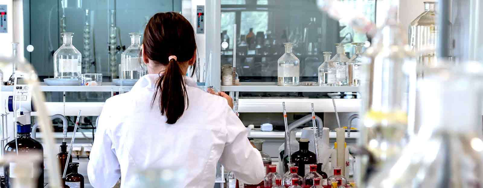 Photo of a scientist working in a laboratory,