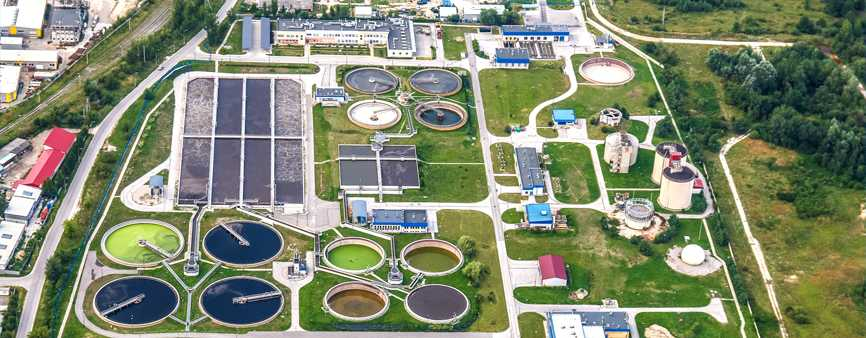 Aerial photo of a wastewater treatment plant.